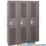Ventilated Metal Lockers Industrial Perforated Two-Tier Hallowell HWBA882-111HG