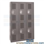 Vented Double Lockers Welded Ventilated Mesh Cabinets Hallowell HWBA882-222HG