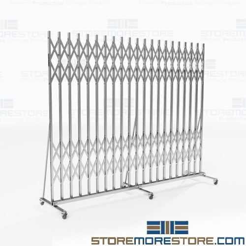 Folding Security Gates Hallway Portable Rolling Barriers