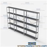 Open Shelving 132x12x87 | 5 Shelves Medium-Duty Steel Shelving Hallowell List