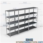 Open Shelving 132x24x87 | 5 Shelves Medium-Duty Steel Shelving Hallowell List