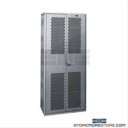 All-welded Hallowell TA-50 Gear equipment locker with perforated sides and doors for ventilation and high security 3 point latching system, two shelves, and hanging rod.