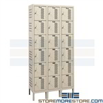 Six-High Perforated Compartment Lockers
