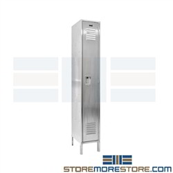 Hallowell USS1288-1 Stainless Steel Locker 12 x 18 x 78 Single Food Processing Contamination Resistant 304
