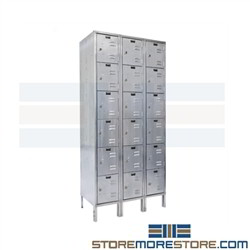 Hallowell USS1888-6 Six Door Stainless Steel Box Lockers 12x18x12 perfect solution for Food Processing Plants where to clean simply Hose Down with soap and Water these chemical and moisture resistant lockers can stand the test of time completely durable