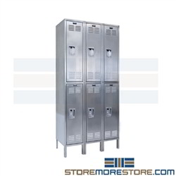 Hallowell USS3888-2 Stainless Steel Storage Lockers Double Doors 18x18x36 Clean Room Contamination Resistant Locker