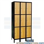 Metal-Wood Hybrid Lockers 3-Tier Steel Frame 24 h