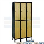 Lockers Metal Frames Wood Doors Two-Tier 3 Wide