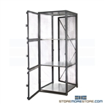 Three-Tier Bulk Wire Storage Lockers Mesh Cabinet Vented Mesh Compartments
