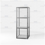 Employee Industrial Storage Cabinet Locker Vented Wire Mesh Three-Tier Cubbies
