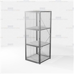 Visible Gear Storage Lockers Wire Mesh Cabinets Three Cubby Compartments Locking