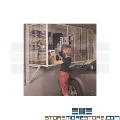 Alternative Views  sc 1 st  StoreMoreStore & Wire Mesh Car Lockers Storage Cages Mounted Over the Hood Parking ...