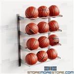 Basketball Storage Racks Wall Mounted Holds 12 Balls Adjustable Shelf Levels