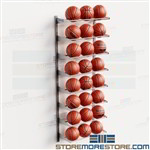 Racks Storing Basketballs Wall Shelves Holding 24 Balls Adjustable Storage Levels