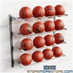 Wall Mounted Basketball Racks Stores 16 Balls Adjustable Storage Shelf Levels