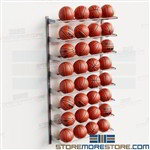 Adjustable Basketball Racks Wall Mounted Storage Shelves Storing 32 Balls