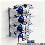 Football Racks Shoulder Pads Wall Hung Storage Shelves Holds 8 Pads Double Stack