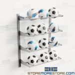 Volleyball Storage Racks Wall Mounted Shelves Holds 12 Balls Adjustable Soccer