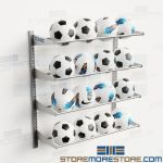 Soccer Ball Storage Racks Adjustable Shelf Levels Wall Hung Stores 16 Balls