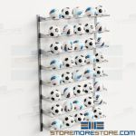 Racks Storing Soccer Balls Wall Shelves Holds 40 Balls Wall Mounted Storage Shelf