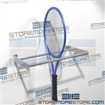 Tennis racquet storage rack holders designed as a wall mounted rack for multiple tennis rackets with a sliding ending stop