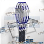 Wall mounted tennis racks store rackets upright by the head beam to protect the strings from being damaged