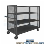 Mesh Package Picking Cart Storage Shelves Expanded Metal Sides Truck Picking