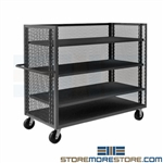 Three-Sided Mesh Stock Cart Rolling Package Truck Material Handling Cart Durham