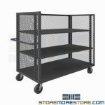 Three-Sided Mesh Truck Stock Picking Cart 2 Shelves Delivery Distribution Durham