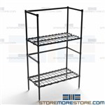 Two Tier Dunnage Storage Rack Adjustable Wire Shelves NSF Quantum 183654DE