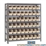 Half-High Bin Shelves Small Parts Storage Racks 36wx18dx39h Quantum 1839-103