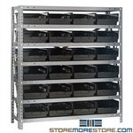 Economy Small Parts Shelving 36wx18dx39h Counter High Rack Bins Quantum 1839-108