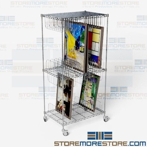 Art storage cart rolling wire shelving wire framed painting alternative views sciox Images