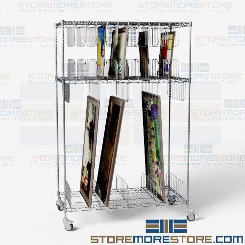 Wire Shelving Wheels | Art Storage Shelving Wheels Painting Artwork Cart Rolling Wire Shelf