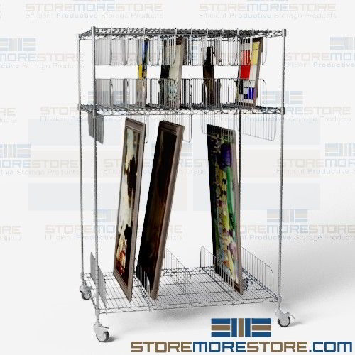 Artwork storage cart framed painting shelving wire rolling art racks alternative views sciox Images