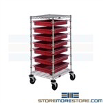 Plastic Drawer Cart Four Totes Transport Storage Shelves Mobile Rack Quantum