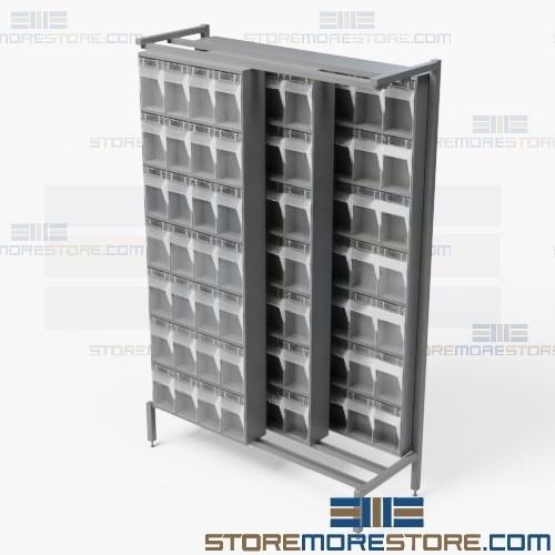 Sideways Sliding Bin Storage Cabinet Clear Bin Organize