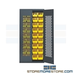 Vented Bin Storage Cabinet Perforated Doors Safe-View Supply Quantum MESH-240