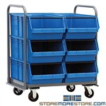 Storage Bin Cart Mobile Large Storage Plastic Tubs Hopper Quantum MTT-3042-743