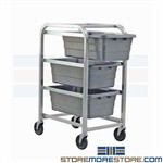 "Mobile Tote Racks Storage Tubs Wheels Food Prep 27""W x 19""D Quantum TR3-2516-8"