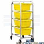 Rolling Tote Storage Racks Mobile Supplies Parts Four-High Quantum TR4-2516-8