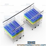 Rolling Track Wire Shelving System Trolley Storage Racks Compact High Capacity