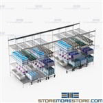 Compact Wire Storage Shelves Top Track Mobile Electronic Racks SMS-TT-2460-10-4
