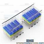 High Capacity Wire Shelving Medical Supply Racks Save Space Top Track Bins