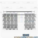 Sliding Wire Shelves Moving Aisle Top Track Rolling Storage Racks SMS-TT-1848-15-4
