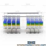 Sliding Top Track Wire Shelving Plastic Bins Medical Supplies Storage Racks