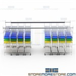 Overhead Rail Wire Shelving System Space Saving Storage Racks Top Track Bins