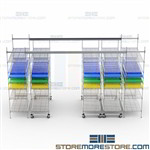 Movable Wire Shelving Storage System Stacking Racks Together One Access Aisle