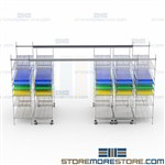 Mobile Top Track Wire Shelving Racks Bin Storage Units Roll Together Single Aisle