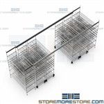 Rolling Track Wire Shelving Bin System Storage Racks High Density Space Saving